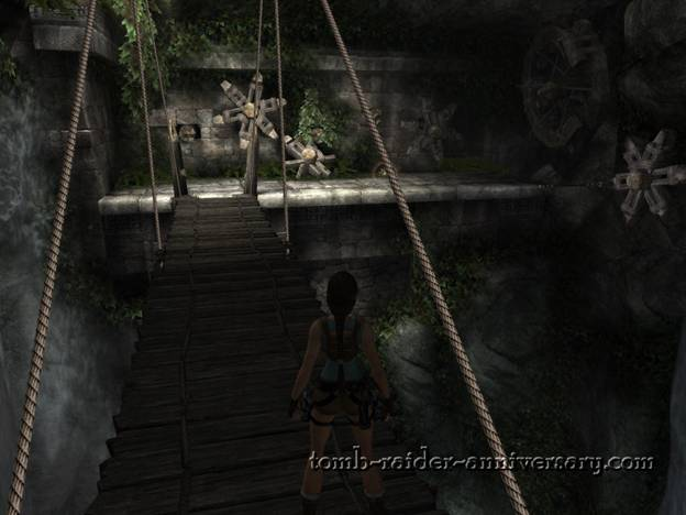 Tomb Raider Anniversary - Peru: The Lost Valley - Wooden bridge that leads to the next cog