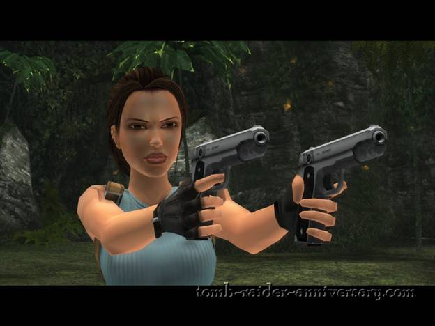 Tomb Raider Anniversary - Peru: The Lost Valley - Lara Croft in a badass position