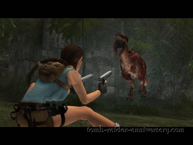 Tomb Raider Anniversary - Peru: The Lost Valley - Dodge the incoming dinosaurs