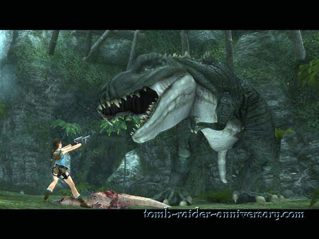 Tomb Raider Anniversary - Peru: The Lost Valley - Lara vs Big T-Rex