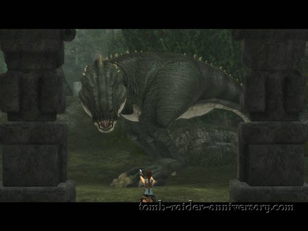 Tomb Raider Anniversary - Peru: The Lost Valley - Cutscene of the dinosaur destroying the entrance