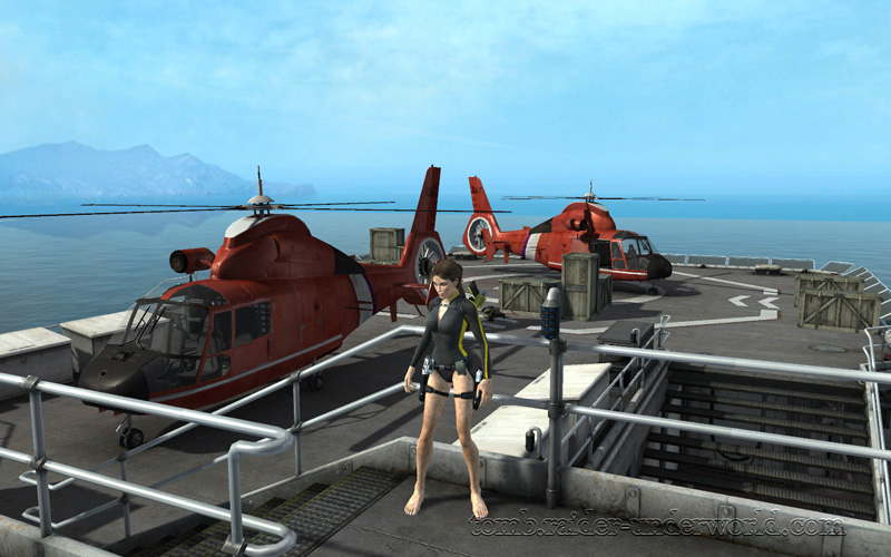 Tomb Raider Underworld walkthrough Mediteranean Sea - God of Thunder helicopter screenshot