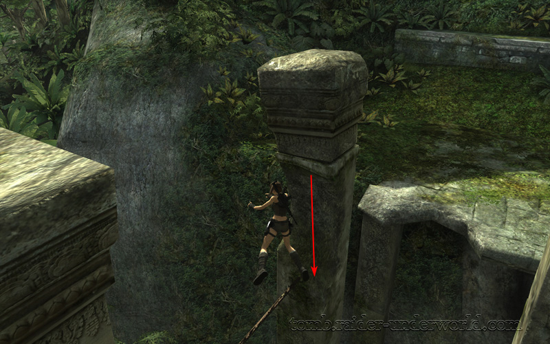Tomb Raider Underworld walkthrough Coastal Thailand - Remnants pillar drop down screenshot