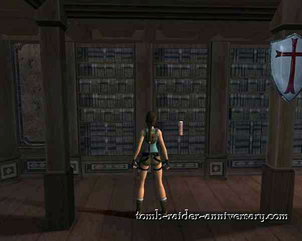 Tomb Raider Anniversary - Croft Mansion - Use the book in the bookshelf to your left