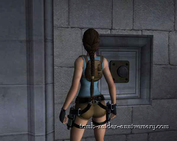 Tomb Raider Anniversary - Croft Mansion - Push the button to open the door