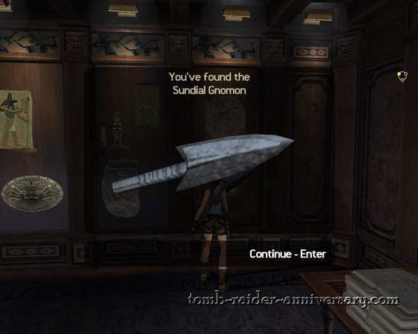 Tomb Raider Anniversary - Croft Mansion - You found the Sundial Gnomon