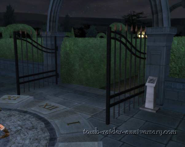 Tomb Raider Anniversary - Croft Mansion - the garden gate is now open