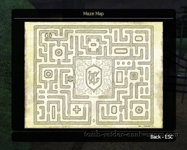 Tomb Raider Anniversary - Croft Mansion - check the maze map