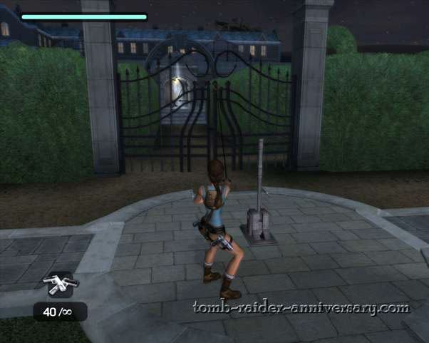 Tomb Raider Anniversary - Croft Mansion - Use the grappling hook on the gates